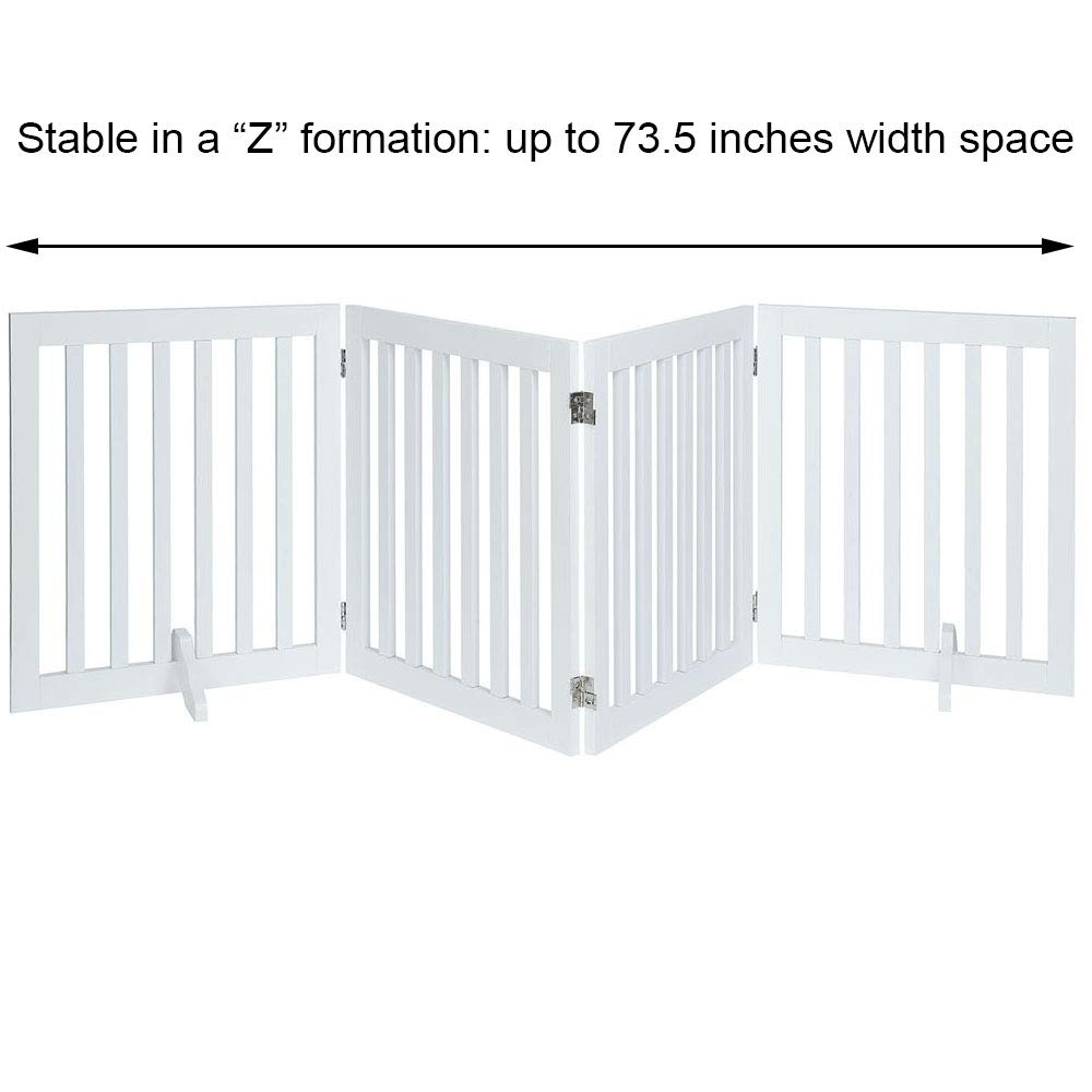 unipaws Freestanding Wooden Dog Gate, Foldable Pet Gate with 2PCS Support Feet Dog Barrier Indoor Pet Gate Panels for Stairs by unipaws (Image #6)