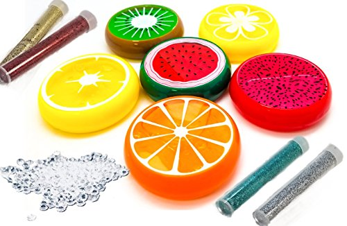 FRUIT SLIME PUTTY - GIANT SIZE - DIAMOND MAGICAL CRYSTAL & GLITTER - 3X MORE FRUIT SCENTED SLIME FOR KIDS - REUSABLE SLIME CONTAINER - DIY SLIME ACCESSORIES -CLEAR SLIME KIT