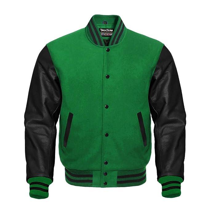 Amazon.com: Varsity - Chaqueta de letras verdes y negras en ...