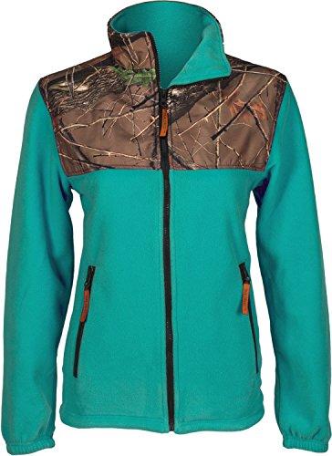 Trailcrest Women's Camo Fleece Full Zip C-max Wind Jacket, Teal, Small
