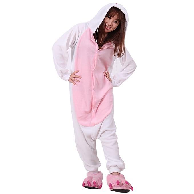 BOMOVO Pijama de una pieza supersuave - Con capucha - conejo blanco - rosa y blanco