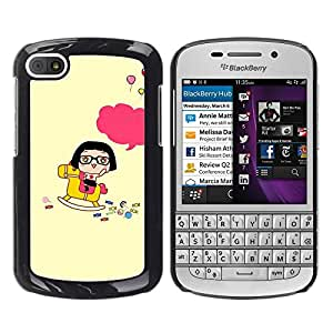 Design for Girls Plastic Cover Case FOR BlackBerry Q10 Cute Happy Rocking Horse OBBA