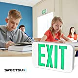 SPECTSUN LED Exit Sign with Battery Backup,Green