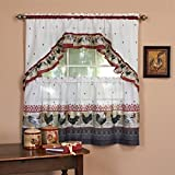 UNKN 3pc 36 Color Ornate Rooster Tier & Swag Window Curtain Set, Polyester, Burgundy Color Printed Tailored Classic Country Formal Antique Vintage Rustic Traditional Vibrant