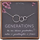 EFYTAL Generations Necklace for Grandma Sterling Silver 3 Interlocking Infinity Circles for Mom & Granddaughter Mothers Day Jewelry Birthday Gift