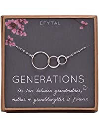 Generations Necklace for Grandma Sterling Silver 3 Interlocking Infinity Circles for Mom & Granddaughter Mothers Day Jewelry Birthday Gift