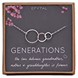 EFYTAL Generations Necklace for Grandma - Sterling Silver Mom Granddaughter Mothers Day Jewelry Birthday Gift