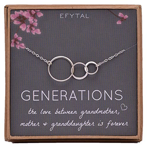 EFYTAL Generations Necklace for Grandma Sterling Silver 3 Interlocking Infinity Circles for Mom & Granddaughter Mothers Day Jewelry Birthday Gift ()