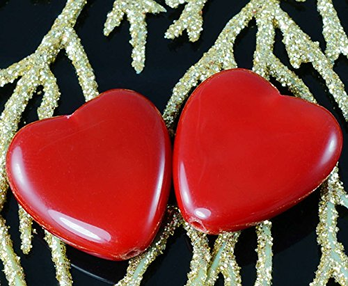 Large Opaque Red Czech Glass Heart Beads Focal Pendant Valentines Wedding 24mm x 22mm 2pcs