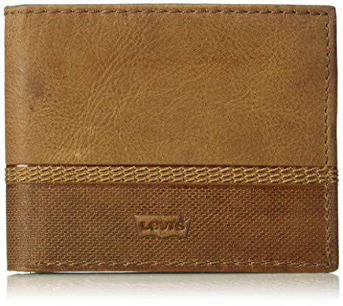 Levi's Men's RFID Security Blocking Traveler Wallet, Beige/Tan, One Size ()