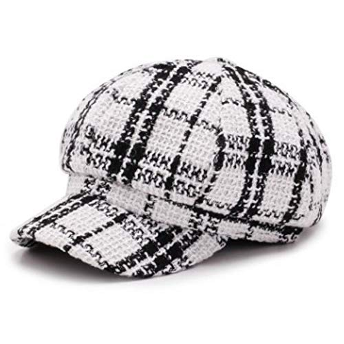 Hat British Trend Retro Newsboy Caps Female Beret Plaid Flat Cap for Women (White,56-60cm)