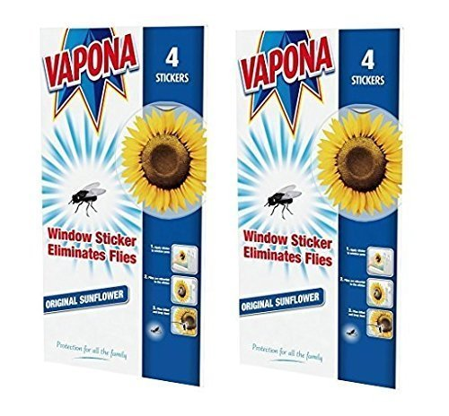 2 x Vapona Window Stickers Sunflower x 8 Insect Flies Wasp Pest Attractor & Eliminator Killer (4 Packs)