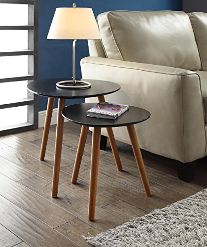 Convenience Concepts 203542BL Oslo End Table, Black/Natural