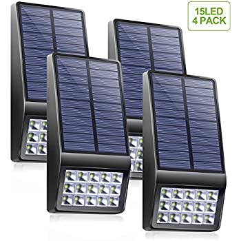 Solar Lights Outdoor 4 Pack - XINREE 15 LED Super Bright Solar Motion Sensor Lights with DIM Mode Wireless Waterproof Solar Powered Security Light for Garden Patio Yard Wall Path Fence Step Deck