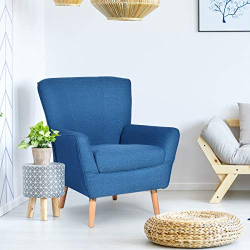 Giantex Home Decor Elegant Single Accent Leisure Upholstered Arm Chair (Blue) (Accent Blue Armless Chair)
