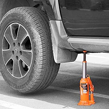 Groz 4 Ton Hydraulic Bottle Jack with Load Limiting Device | Ideal for use with Cars, Mini Trucks, MUVs, SUVs, LCVs, etc.| Portable| Leak-proof| Forged Base| Lifting Range: 190 – 368 mm| JACK/BT/4W 8
