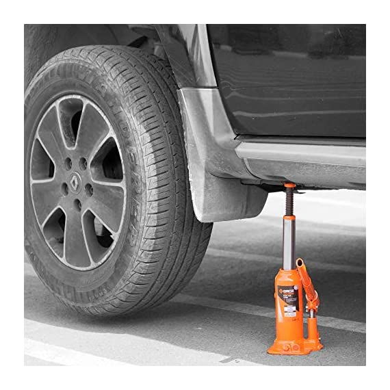 Groz 4 Ton Hydraulic Bottle Jack with Load Limiting Device | Ideal for use with Cars, Mini Trucks, MUVs, SUVs, LCVs, etc.| Portable| Leak-proof| Forged Base| Lifting Range: 190 – 368 mm| JACK/BT/4W 4