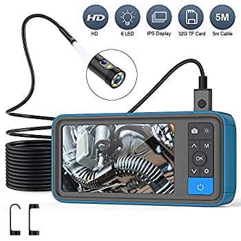 "Image of Borescopes Pipe Sewer Inspection Camera, Dual Lens 1080P Endoscope Camera, 4.5"" Screen Waterproof Borescope Snake Camera with 6 LED Lights, 16.4FT Semi-Rigid Cable Endoscope, 2500mAh Battery, 32GB TF Card"