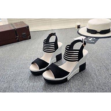 Soles Black Flat 5 RTRY Dress UK4 CN37 Buckle Pu Summer Walking Sandals White Flat EU37 5 7 Marylight Soles Heel US6 Casual 5 Marylight Women'S 706r7v