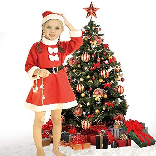 WOWMAR Girl's Santa Suit Dress Christmas Soft Velvet Fleece Kid's Santa Claus Party Cosplay ()