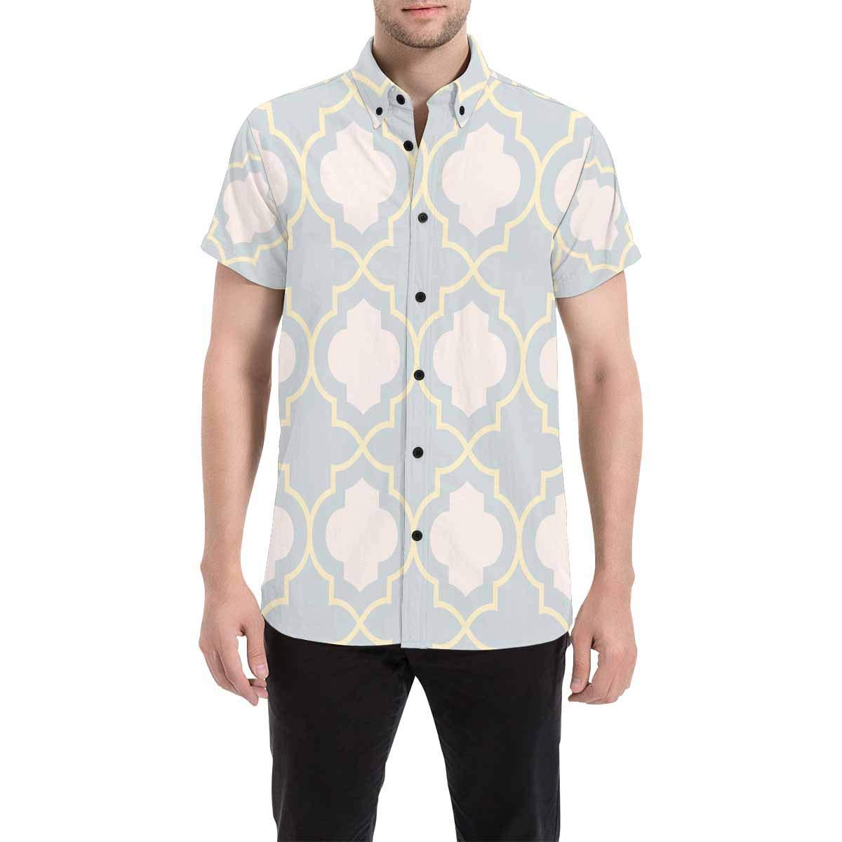 InterestPrint Men Casual Loose Fit Golden Stars Clover Button Down Shirts Short Sleeve Tops S-5XL