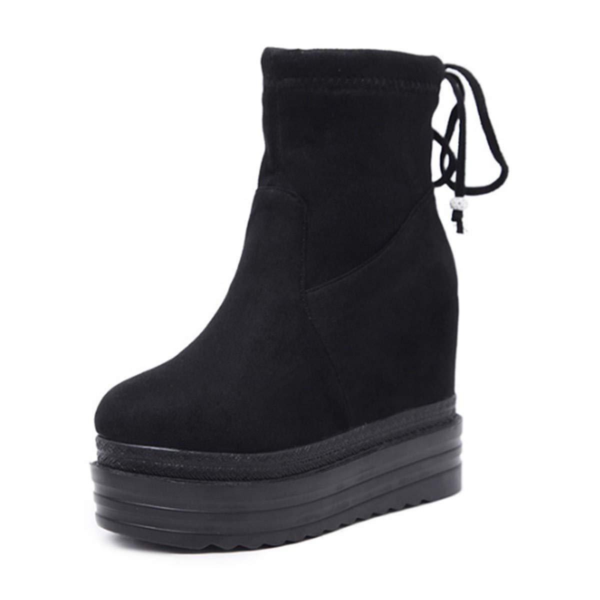LBTSQ-Hang Bei High-Heel Wasserdicht Muffin-Dicke Boden Schuhe 11Cm Innerer Größe Bogen Knoten Wildleder Lady Stiefel