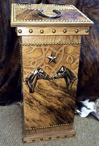 Western DECOR Lidded Cowhide Kitchen Wastebasket Trashcan Hamper Horse &  Bridle Embossed Leather