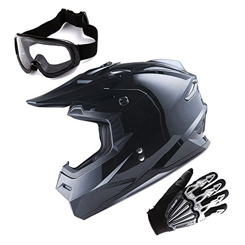 1Storm Adult Motocross Helmet BMX MX ATV Dirt Bike Helmet Racing Style Glossy Black; + Goggles + Skeleton Black Glove Bundle