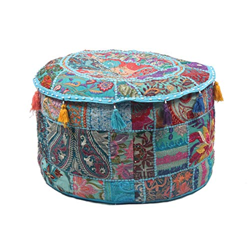 Jaipur Textile Hub Cotton Handmade Without Filler Vintage Modern Ottoman Pouf Cover PUFF-10 (Ottoman Outdoor Western)