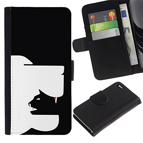 A-type (Clever Modern Cat Dog Art In Yang Black) Colorful Impression Holster Cuir Wallet Cover Housse Peau Cas Case Coque Pour Apple Iphone 4 / 4S