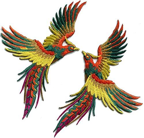 Bird Embroidered Iron - Phoenix phenix birds orange yellow green embroidered appliques iron-on patches pair S-1331