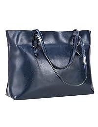 S-ZONE Women's Vintage Genuine Leather Tote Shoulder Bag Handbag (Dark Blue)