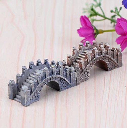 RICISUNG 2pcs Miniature Fairy Garden Ornaments Resin Bridge