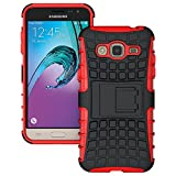 Heartly Flip Kick Stand Spider Hard Dual Rugged Shock Proof Tough Hybrid Armor Bumper Back Case Cover For Samsung Galaxy J3 (2016) - Hot Red