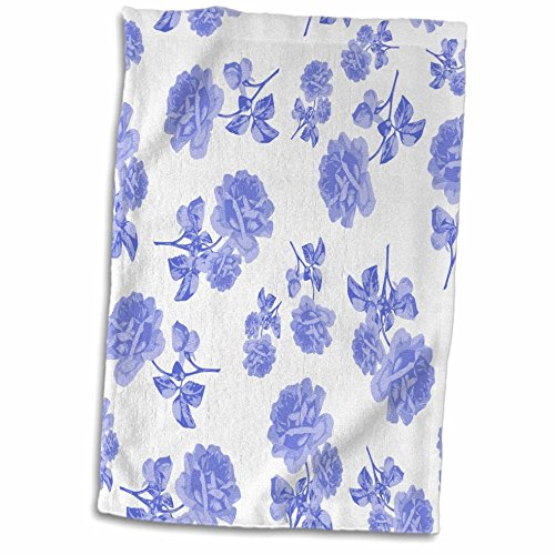 3D Rose Blue and White Flower Pattern Inspired by Oriental Porcelain and Delft twl_183969_1 Towel, 15'' x 22'', Multicolor by 3dRose (Image #1)