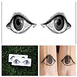 Tattify Eyeball Temporary Tattoo - Crazy Eyes (Set of 2) Long Lasting, Waterproof, Fashionable Fake Tattoos