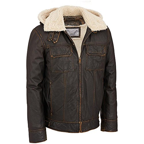 Wilsons Leather Mens Vintage Leather Bomber Jacket W/ Faux-Shearling Liner L Bro