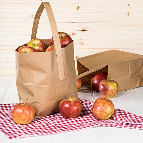 1/2 Peck ''Sophomore'' Natural Brown Kraft Paper Produce Customizable Market Stand Bag with Handle 500 / Case