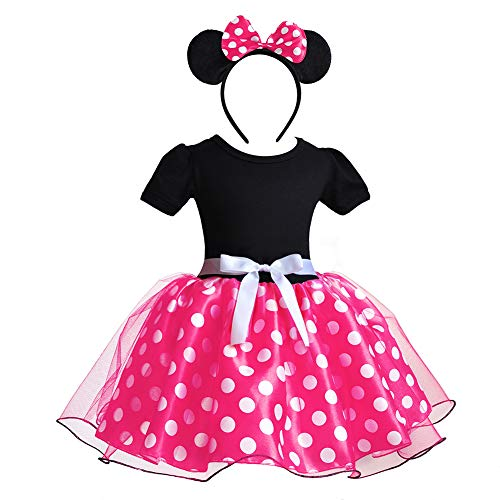 (CQDY Minnie Mouse Costume Fancy Cosplay Halloween Girl Dance Dress with Ear Headband Polka Dot Dress for 12M-5T)
