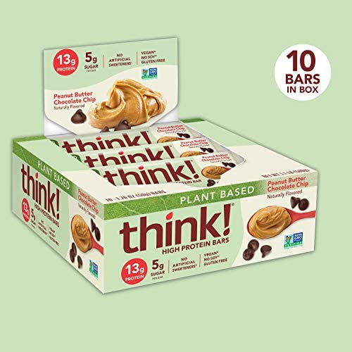 think! High Protein Bars 20g Protein, 0g Sugar, No Artificial Sweeteners, Gluten GMO Free, Chocolate Mint, Peanut Butter Chocolate Chip, 10 Count 3