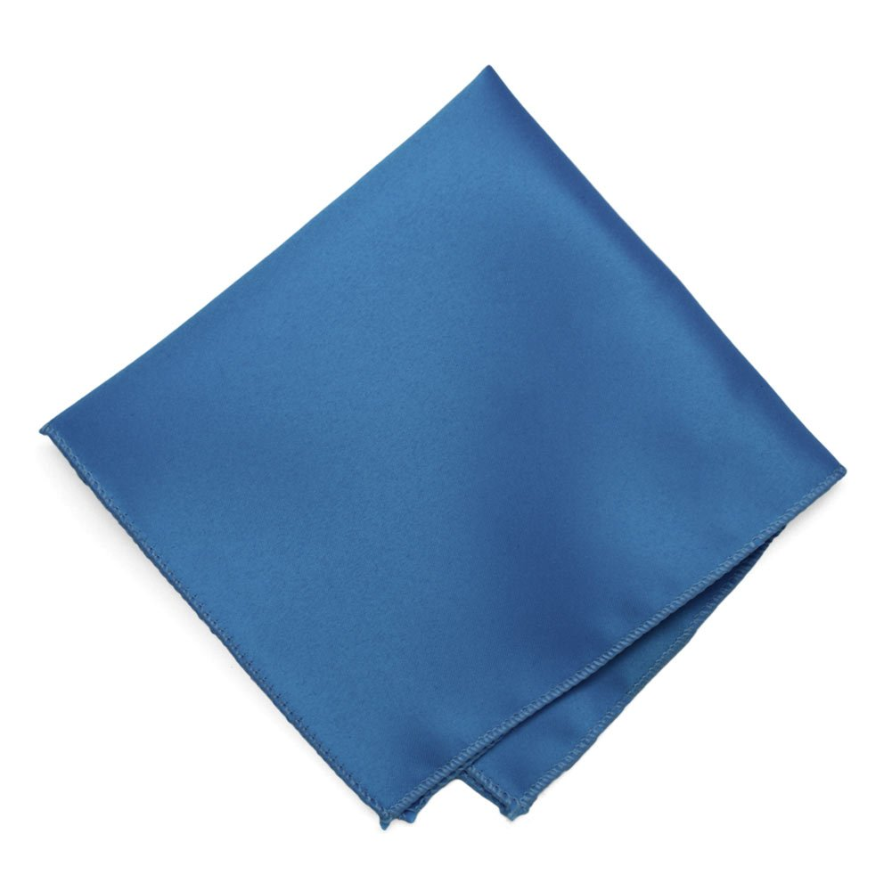 TieMart Blue Solid Color Pocket Square 11 x 11