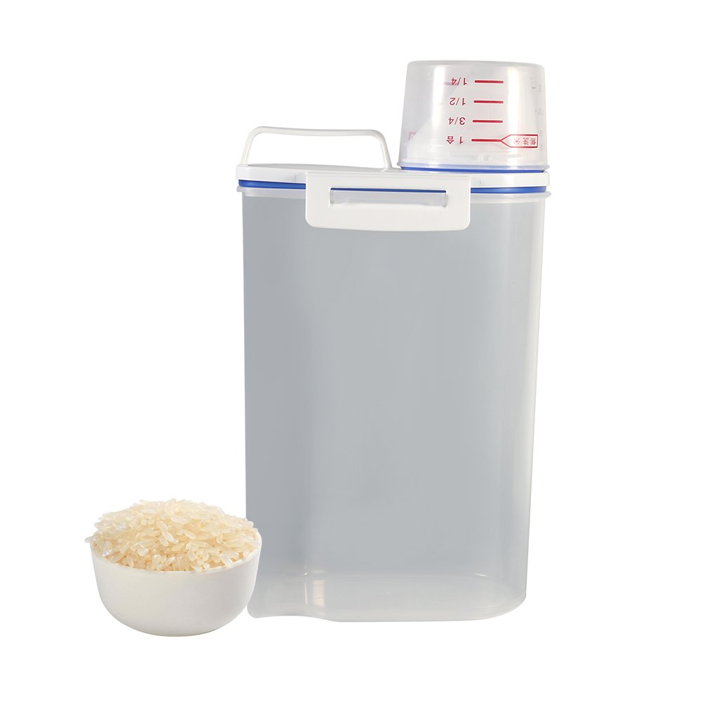 Rice Storage Bin, Portable Sealed Plastic Food Storage Box Cereal, Crisper Grains Tank Storage Kitchen Sorting Food Storage Box Container Case with Pour Spout A Measuring Cup and Handle Yosoo