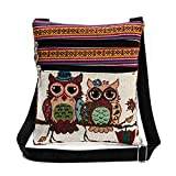Vintage Ethnic Tribal Embroidered Owls Sling Crossbody Boho Hippie Shoulder Bag (9.3x8.3 Inches, A)