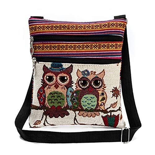 Vintage Ethnic Tribal Embroidered Owls Sling Crossbody Boho Hippie Shoulder Bag (9.3x8.3 Inches, A) by Faithtur (Image #1)