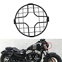 TUINCYN Motorcycle 7 Inch Headlight Grille Black Retro Motorcycle Side Mount Head Lamp Cover Protector Mask Mesk 175mm for Motorcycles Cruiser Chopper Bobber Old School Cafe Racer(Pack of 1)