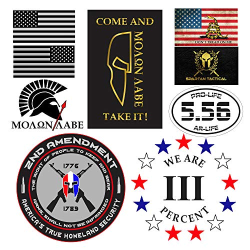 (American Flag Sticker, Bumper Stickers, AR15, Vinyl Sticker, Spartan Helmet, Sticker Pack, Dont Tread On Me Flag, Jeep Stickers, Truck Stickers Decals, Molon Labe, Come and Take It, 2nd Amendment)