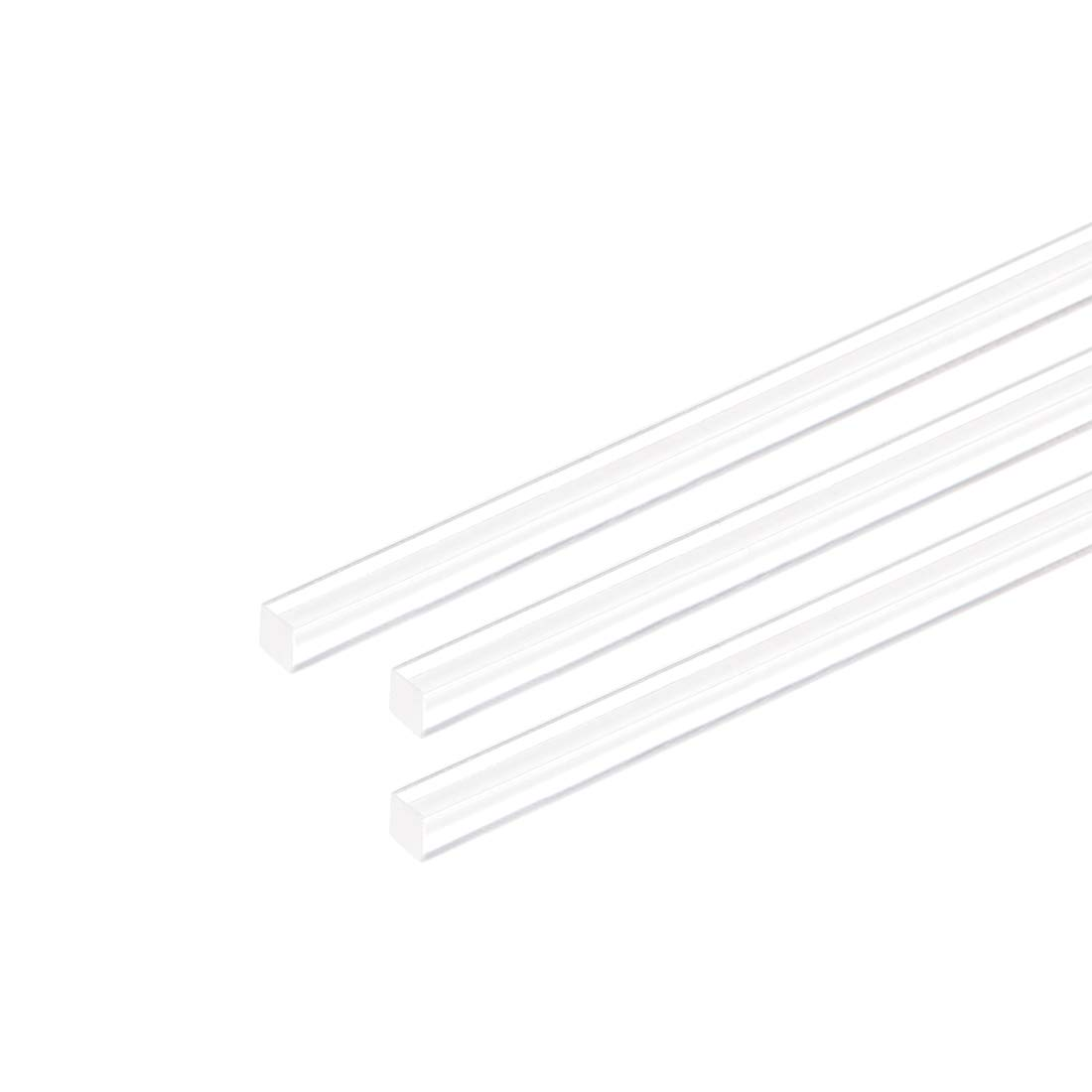 uxcell Acrylic Square Rod 3mmx3mmx10inch Clear Plastic Rod Solid PMMA Bar 2pcs