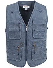 LUSI MADAM Mens Outdoor Vest,Washed Denim Multi-Pockets Casual Vest for Work Fishing Photography Journalist