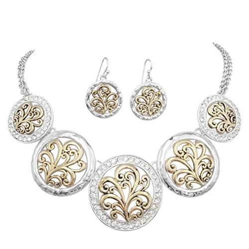 Silver Tone Beaded Disc - 5 Disk Filigree Wave Swirl Bib Statement Necklace & Dangle Earring Set (Silver Tone & Gold Tone with Rhinestones)