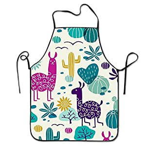 Llama And Cactus Bib Apron For Women And Men - Adjustable Neck Strap - Restaurant Home Kitchen Apron Bib For Cooking, Grill And Baking, Crafting, Gardening, BBQ